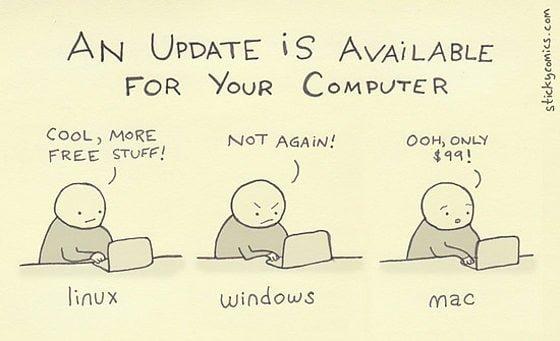 immagine divertente aggiornamenti sistema linux window mac