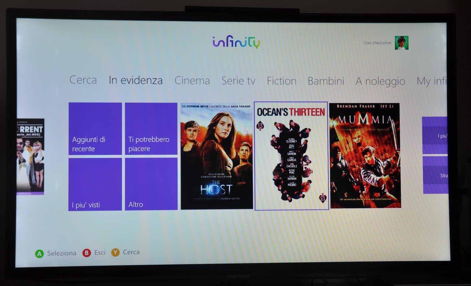 Infinity App per Xbox 360