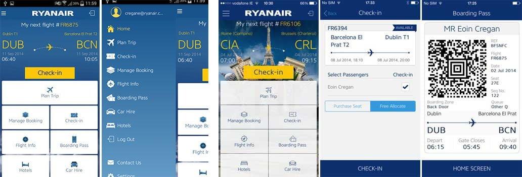 RyanAir App: a sinistra per Android e a destra per iOS. Credit: futuretravelexperience, appszoom