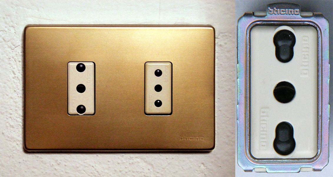 A destra la presa di tipo 16A, al centro 10A, a sinistra la 16A bipasso.