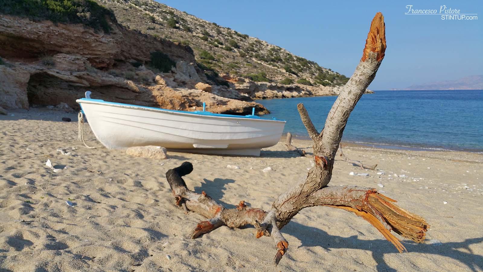 Barca e ramo sulla spiaggia di Ag. Theodoti