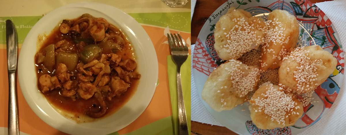 A sinistra la cena da Gialos a Pollonia (polpo di donna Ionna); a destra merenda preparata dalla signora Chaido