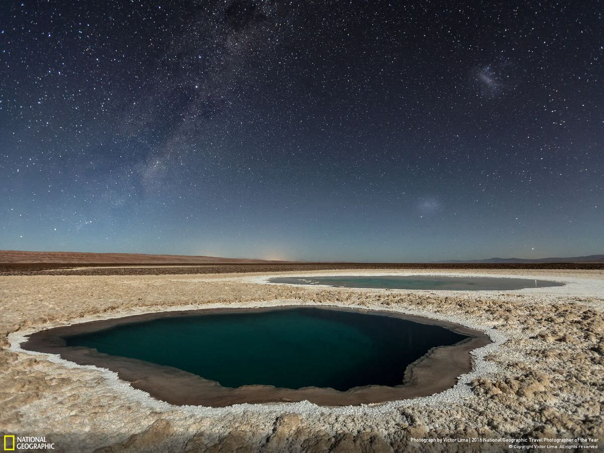 I made this photo during my recent photographic expedition in Atacama Desert, in April 2016. I embarked alone on this adventure to find images not yet published of the most arid desert in the world and its contrasts.  Despite the Atacama Desert being one of the best places on the planet to do night photography. Therefore, I sought one of the places recently discovered in the Atacama Desert and one that shows all the contrast of this desert to make night shots: the Baltinache Ponds. | CATEGORY: Nature