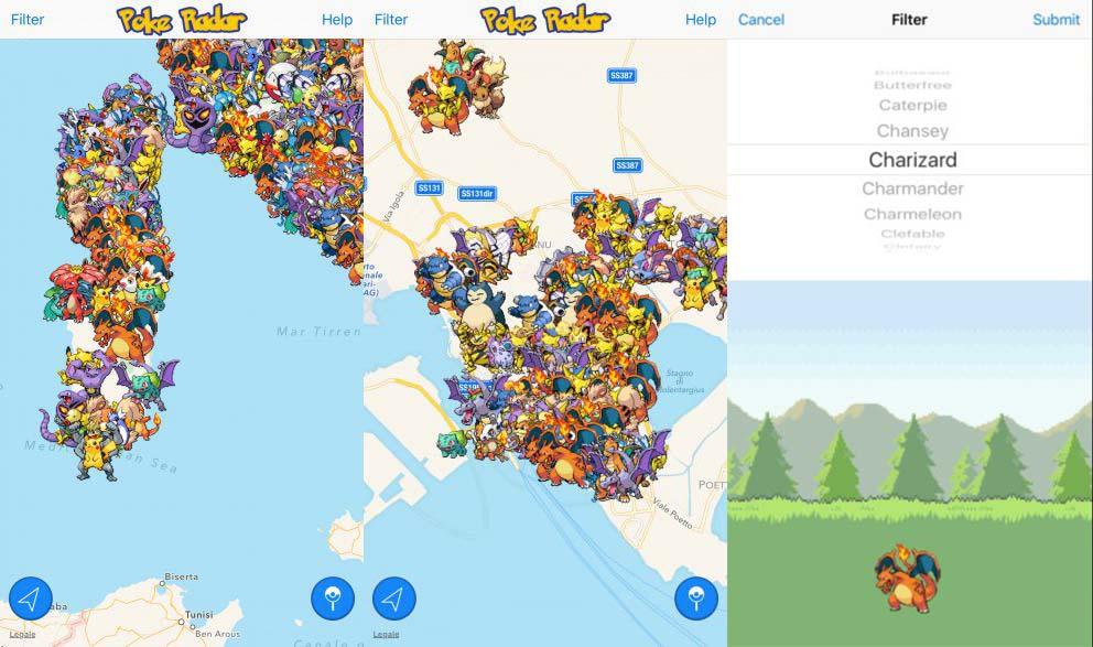 Screenshot direttamente dall'app Poke Radar