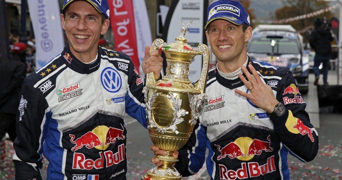 Ogier e Ingrassia festeggiano il quarto mondiale piloti con VW