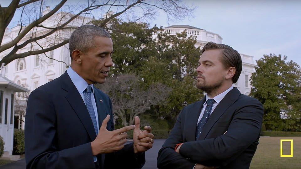 Leonardo Di Caprio discute sui cambiamenti climatici con il Presidenti degli Stati Uniti Barack Obama