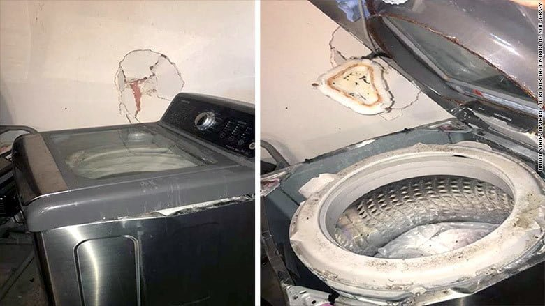 """Una lavatrice Samsung """"esplosa"""" ha danneggiato il muro di una casa in Texas"""