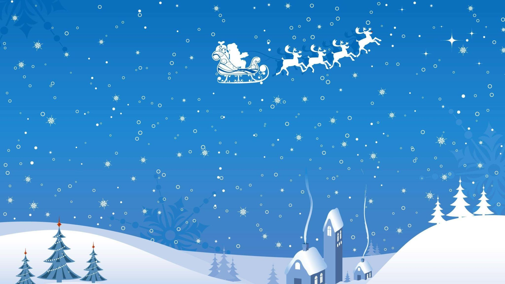 santa claus sleigh reindeer flying night home christmas snowflakes hd wallpapers