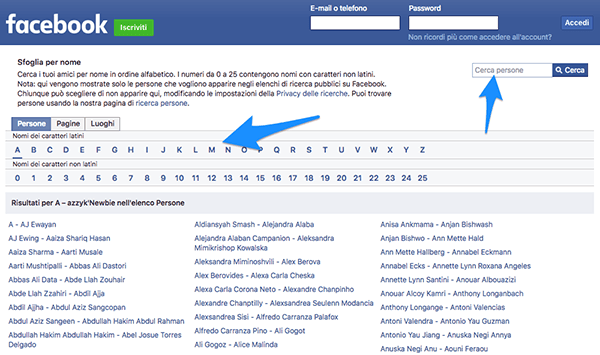 Facebook come visitatore