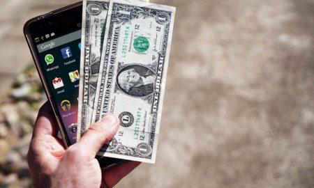 mobile phone money banknotes us dollars 163069
