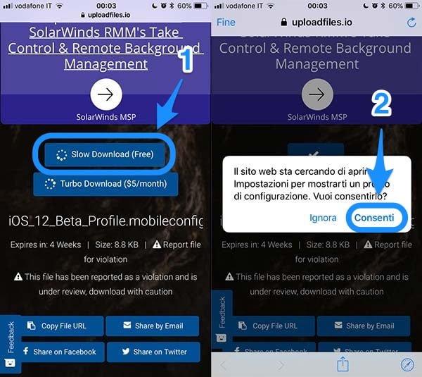 Come installare iOS 12