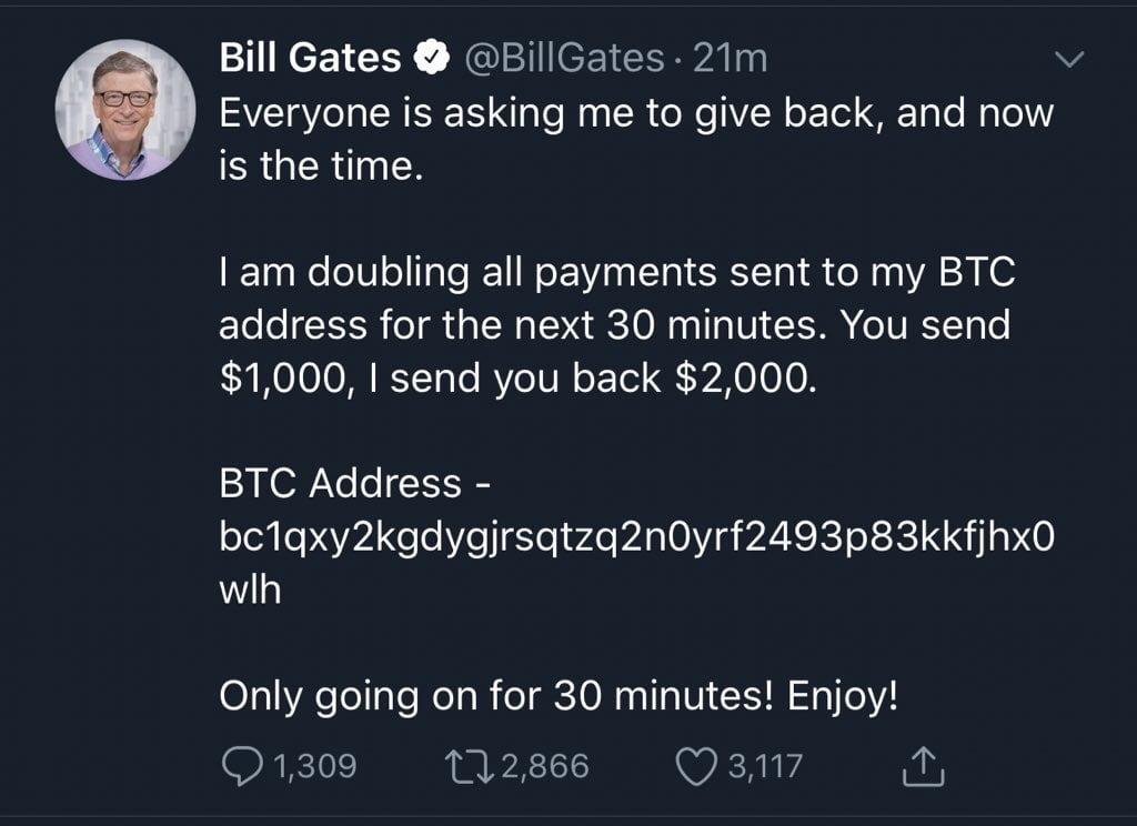 Twitter hackerato Bill Gates