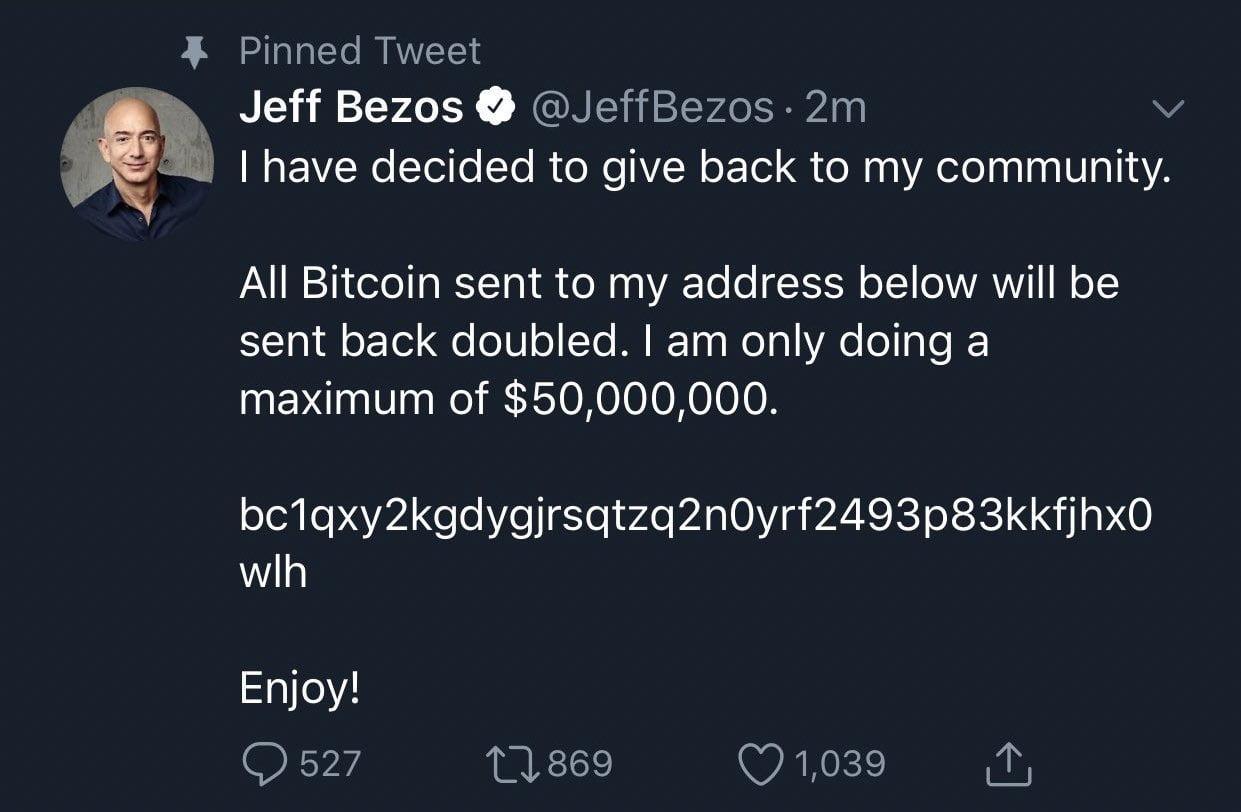 Twitter hackerato Jeff Bezos