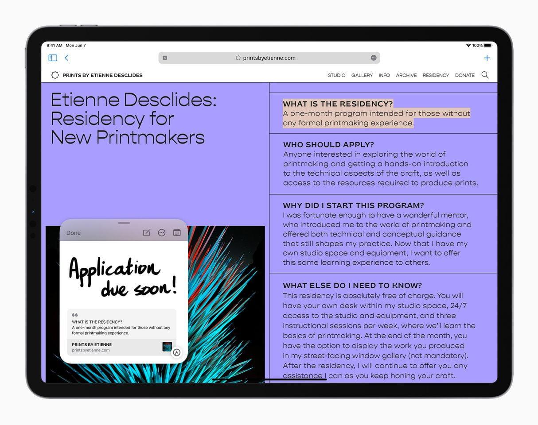 Apple iPadPro iPadOS15 QuickNote Safari 060721 result 1